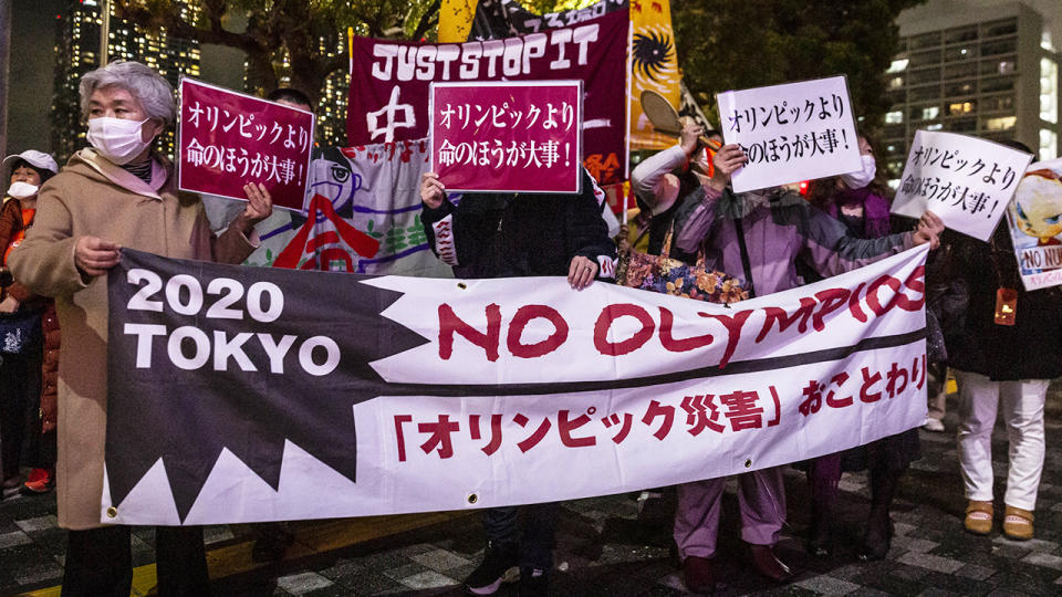There is increasing opposition to the Tokyo Olympics going ahead among Japan's citizens, with a petition to cancel the Games outright receiving more than 200,000 signatures. (Photo by Yuichi Yamazaki/Getty Images)