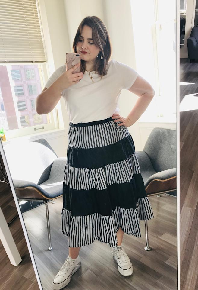 """<p>I love that I can wear this <a href=""""https://www.popsugar.com/buy/Old-Navy-EveryWear-Slub-Knit-Tee-548770?p_name=Old%20Navy%20EveryWear%20Slub-Knit%20Tee&retailer=oldnavy.gap.com&pid=548770&price=7&evar1=fab%3Aus&evar9=47214670&evar98=https%3A%2F%2Fwww.popsugar.com%2Ffashion%2Fphoto-gallery%2F47214670%2Fimage%2F47214672%2FWhite-Tee-Mirror-Selfie&list1=shopping%2Ct-shirts%2Cold%20navy%2Ceditors%20pick%2Ctops%2Cfashion%20shopping%2Caffordable%20shopping&prop13=api&pdata=1"""" rel=""""nofollow"""" data-shoppable-link=""""1"""" target=""""_blank"""" class=""""ga-track"""" data-ga-category=""""Related"""" data-ga-label=""""https://oldnavy.gap.com/browse/product.do?pid=391191022#pdp-page-content"""" data-ga-action=""""In-Line Links"""">Old Navy EveryWear Slub-Knit Tee</a> ($7, originally $13) with both jeans and skirts. It also looks great under jackets and blazers.</p>"""