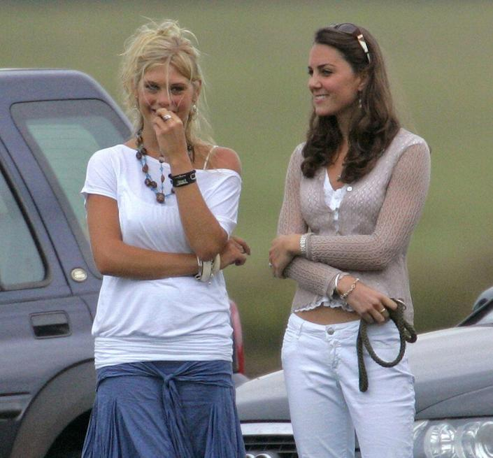 <p>Hanging out with Prince Harry's then-girlfriend Chelsy Davy at a charity polo match in 2006. </p>