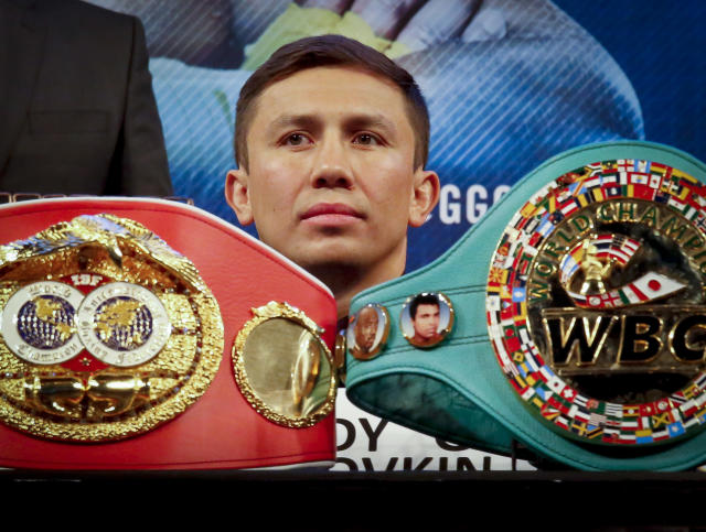 Gennady Golovkin is putting his undefeated record on the line against Canelo Alvarez. (AP)