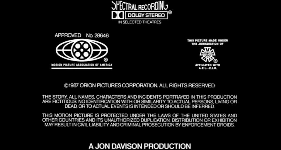 photo of end credits for Robocop movie