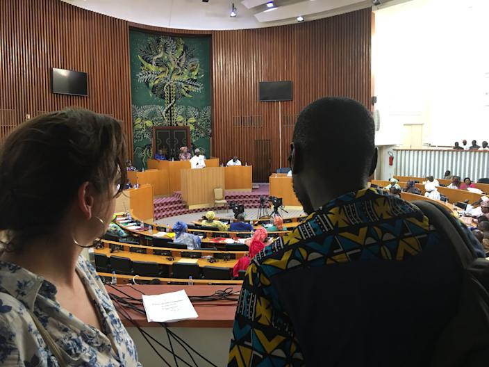 """At Senegal's National Assembly in Dakar, Michelle waited to speak to the politician smeared by """"Michelle Damsen"""""""