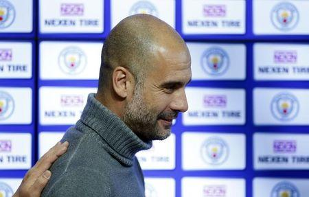 Manchester City manager Pep Guardiola during the announcement of a partnership with Nexen Tire