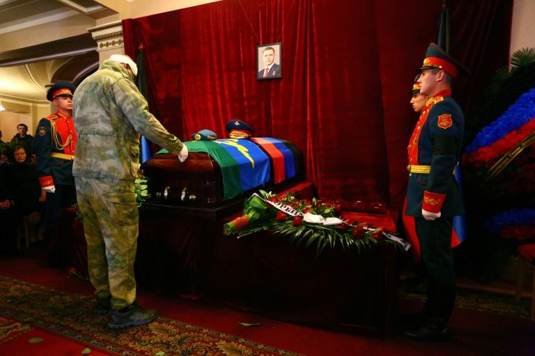The body of Alexander Zakharchenko, the 42-year-old chief of the self-proclaimed Donetsk People's Republic in east Ukraine lies in state at a theatre after his assassination