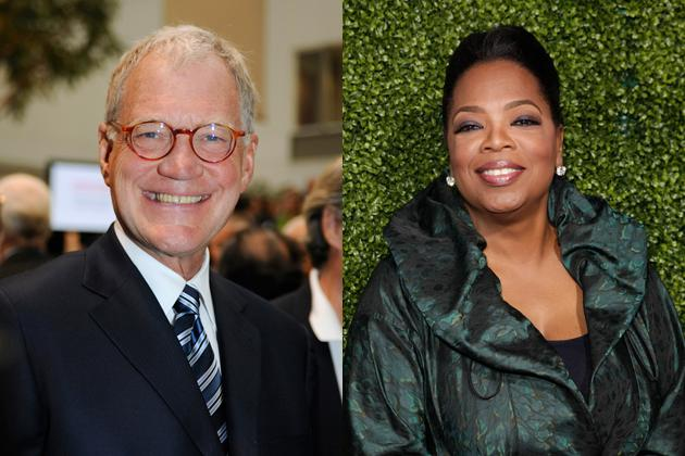 David Letterman and Oprah Winfrey