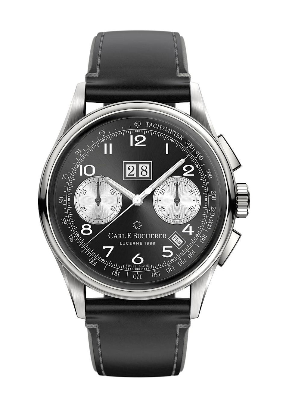 """<p>Heritage BiCompax Annual</p><p><a class=""""link rapid-noclick-resp"""" href=""""https://www.carl-f-bucherer.com/en/watches/heritage-bicompax-annual-00-10803-08-32-01"""" rel=""""nofollow noopener"""" target=""""_blank"""" data-ylk=""""slk:SHOP"""">SHOP</a></p><p>The Sixties and Seventies have been well and truly plundered for inspiration by watchmakers. With good reason – it was a golden age for watch design. Carl F Bucherer's Heritage collection turns the dial back slightly more, to the refined and elegant Fifties. </p><p>A new version of its Heritage BiCompax Annual comes with a reverse panda dial that gives its clean, mid-century style a sportier twist. If you're in the market for a vintage inspired sports watch that stands apart from the crowd but doesn't require a new mortgage, this is the one.</p><p>£5,500; <a href=""""https://www.carl-f-bucherer.com/en/watches/heritage-bicompax-annual-00-10803-08-32-01"""" rel=""""nofollow noopener"""" target=""""_blank"""" data-ylk=""""slk:carl-f-bucherer.com"""" class=""""link rapid-noclick-resp"""">carl-f-bucherer.com </a></p>"""