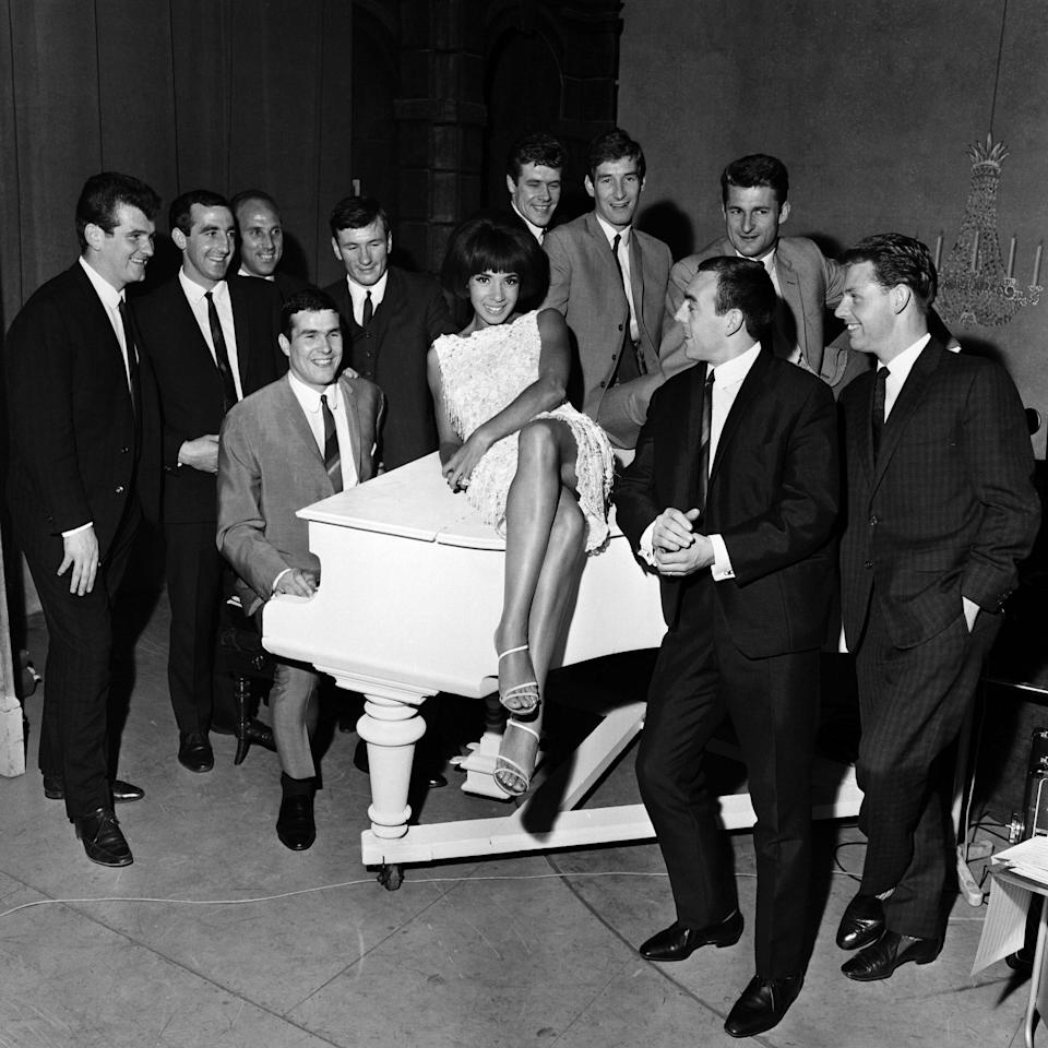 St John and his teammates meet Shirley Bassey at the Empire Theatre, Liverpool, on the eve of their departure for Italy to play Inter Milan in the European Cup semi-finals - Sayle/Daily Mirror /Mirrorpix/Getty Images