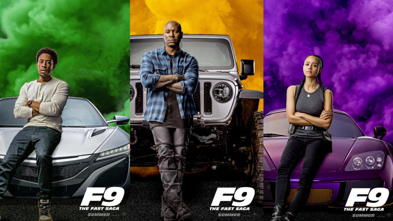 Ludacris, Tyrese Gibson and Nathalie Emmanuel in character posters for 'Fast & Furious 9'. (Credit: Universal)