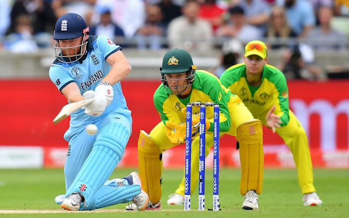 Jonny Bairstow slog-sweeps the ball for four against Australia - GETTY IMAGES