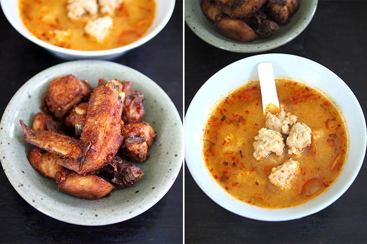 Nibble on Thai fried chicken that is sold either in a combination of various parts of the chicken or your preferred parts (left). If you like your tom yum to have a mild spicy kick, this will be perfect... they serve it with bouncy own-made pork balls fashioned from minced pork (right)