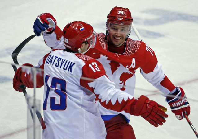 It's the fifth Olympics for former NHL All Stars Pavel Datsyuk and Ilya Kovalchuk. (AP Photo/Petr David Josek)
