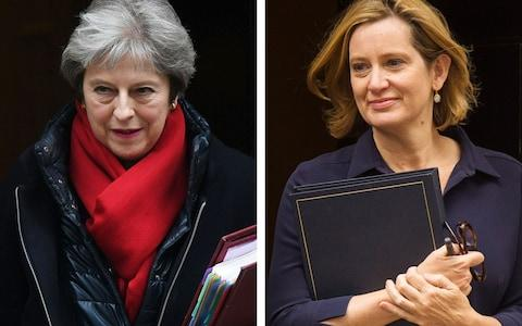Theresa May and Amber Rudd are both former Home Secretaries  - Credit: PA