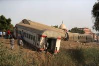 Train derails in Egypt in Qalioubia province, north of Cairo
