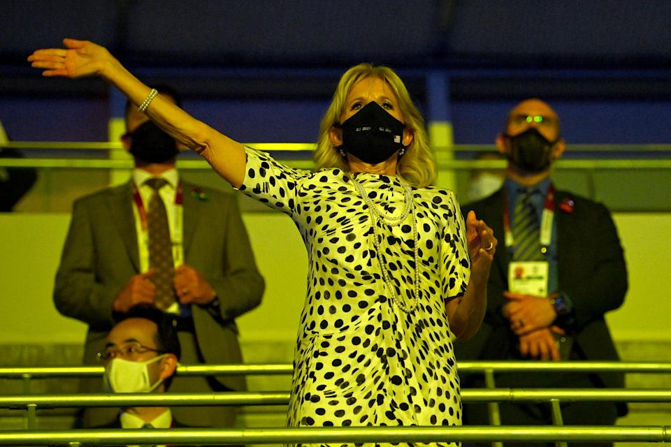 <p>TOKYO, JAPAN - JULY 23: U.S. First Lady, Jill Biden waves during the Opening Ceremony of the Tokyo 2020 Olympic Games at Olympic Stadium on July 23, 2021 in Tokyo, Japan. (Photo by Dylan Martinez - Pool/Getty Images)</p>