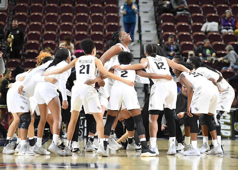 UCF Knights Forward Masseny  Kaba  (5) hypes the team up prior to the start of the game as the Tulsa Golden Hurricane take on the UCF Knights  on March 09, 2019 at the Mohegan Sun Arena in Uncasville, Connecticut. (Photo by Williams Paul/Icon Sportswire via Getty Images)