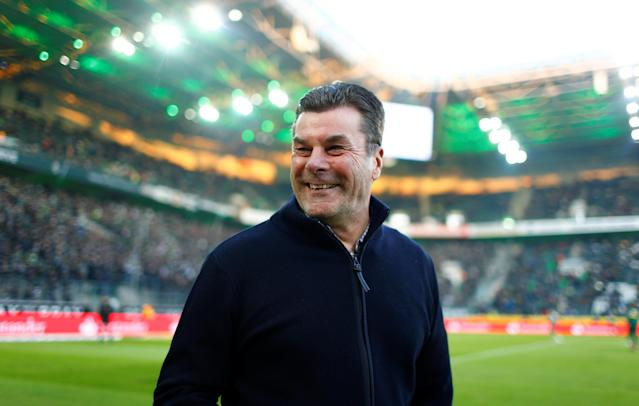 Soccer Football - Bundesliga - Borussia Moenchengladbach vs Borussia Dortmund - Borussia-Park, Moenchengladbach, Germany - February 18, 2018 Borussia Monchengladbach coach Dieter Hecking before the match REUTERS/Thilo Schmuelgen DFL RULES TO LIMIT THE ONLINE USAGE DURING MATCH TIME TO 15 PICTURES PER GAME. IMAGE SEQUENCES TO SIMULATE VIDEO IS NOT ALLOWED AT ANY TIME. FOR FURTHER QUERIES PLEASE CONTACT DFL DIRECTLY AT + 49 69 650050