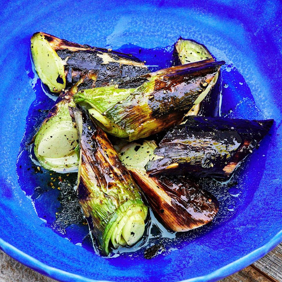 "Don't be afraid to take the leeks to the point where they almost look burnt. A well-charred exterior means the interiors will be creamy, soft, silky, and delightfully sweet. <a href=""https://www.bonappetit.com/recipe/charred-leeks-with-honey-and-vinegar?mbid=synd_yahoo_rss"" rel=""nofollow noopener"" target=""_blank"" data-ylk=""slk:See recipe."" class=""link rapid-noclick-resp"">See recipe.</a>"