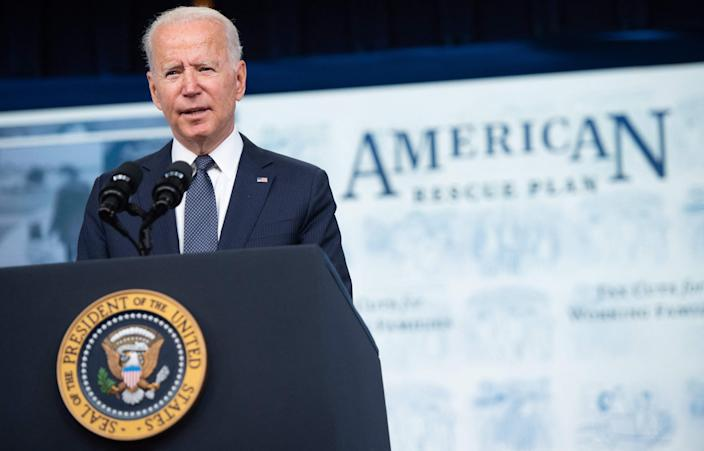 US President Joe Biden promotes the American Rescue Plan during an event in the Eisenhower Executive Office Building in Washington, DC, July 15, 2021.