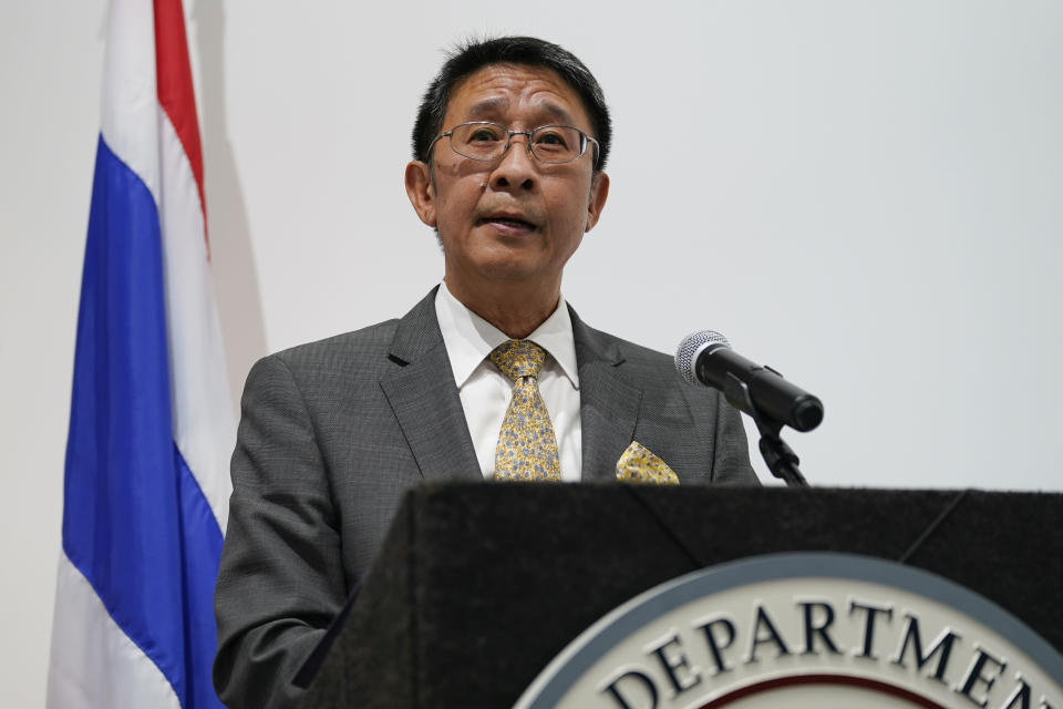 Manasvi Srisodapol, Ambassador of Thailand to the United States, speaks during a ceremony to return two stolen hand-carved sandstone lintels dating back to the 9th and 10th centuries to the Thai government Tuesday, May 25, 2021, in Los Angeles. The 1,500-pound (680-kilogram) antiquities had been stolen and exported from Thailand — a violation of Thai law — a half-century ago, authorities said, and donated to the city of San Francisco. They had been exhibited at the San Francisco Asian Art Museum. (AP Photo/Ashley Landis)