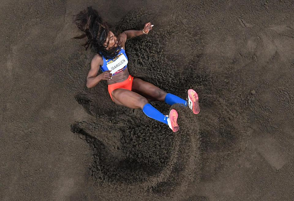 <p>Colombia's Katerine Ibarguen competes in the women's triple jump qualification on July 30.</p>