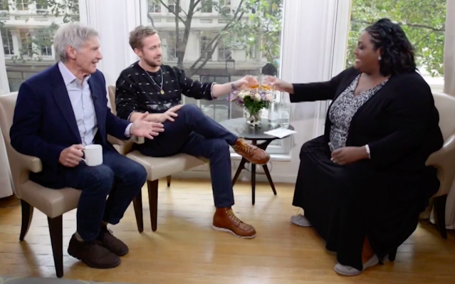 Interviewer Alison Hammond joined Ford and Gosling for a drink in this hilarious interview. (Photo: ITV)