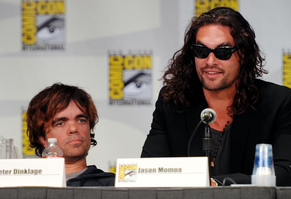 """SAN DIEGO, CA - JULY 21:  Actors Peter Dinklage and Jason Momoa speak at HBO's """"Game Of Thrones"""" Panel during Comic-Con 2011 on July 21, 2011 in San Diego, California.  (Photo by Frazer Harrison/Getty Images)"""