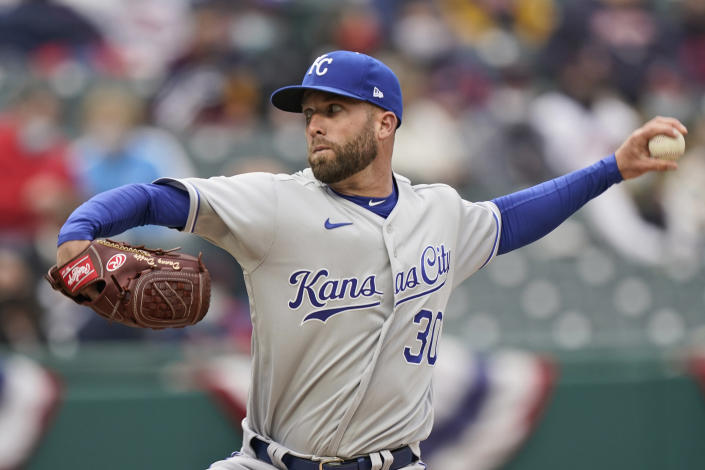 Kansas City Royals starting pitcher Danny Duffy delivers in the first inning of a baseball game against the Cleveland Indians, Monday, April 5, 2021, in Cleveland. (AP Photo/Tony Dejak)