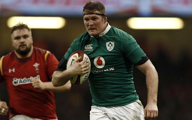<span>Ireland's lock Donnacha Ryan runs with the ball during the Six Nations international rugby union match between Wales and Ireland</span> <span>Credit: GETTY </span>