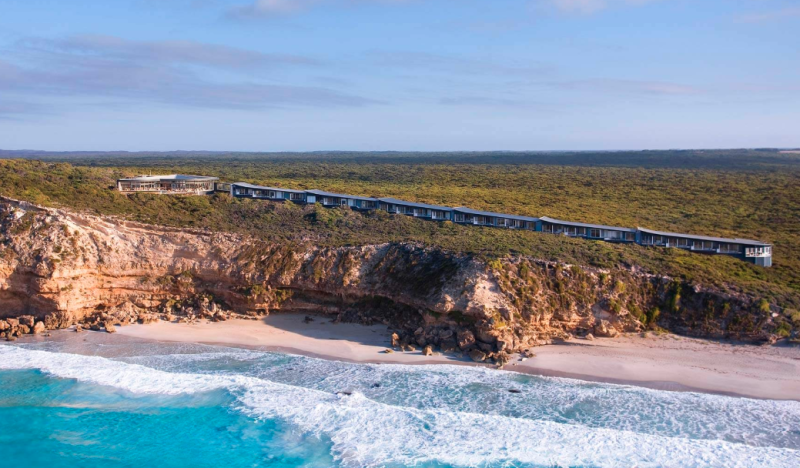 A photo of the Southern Ocean Lodge located on South Australia's Kangaroo Island, overlooking pristine blue ocean, before it was ravaged by fire.