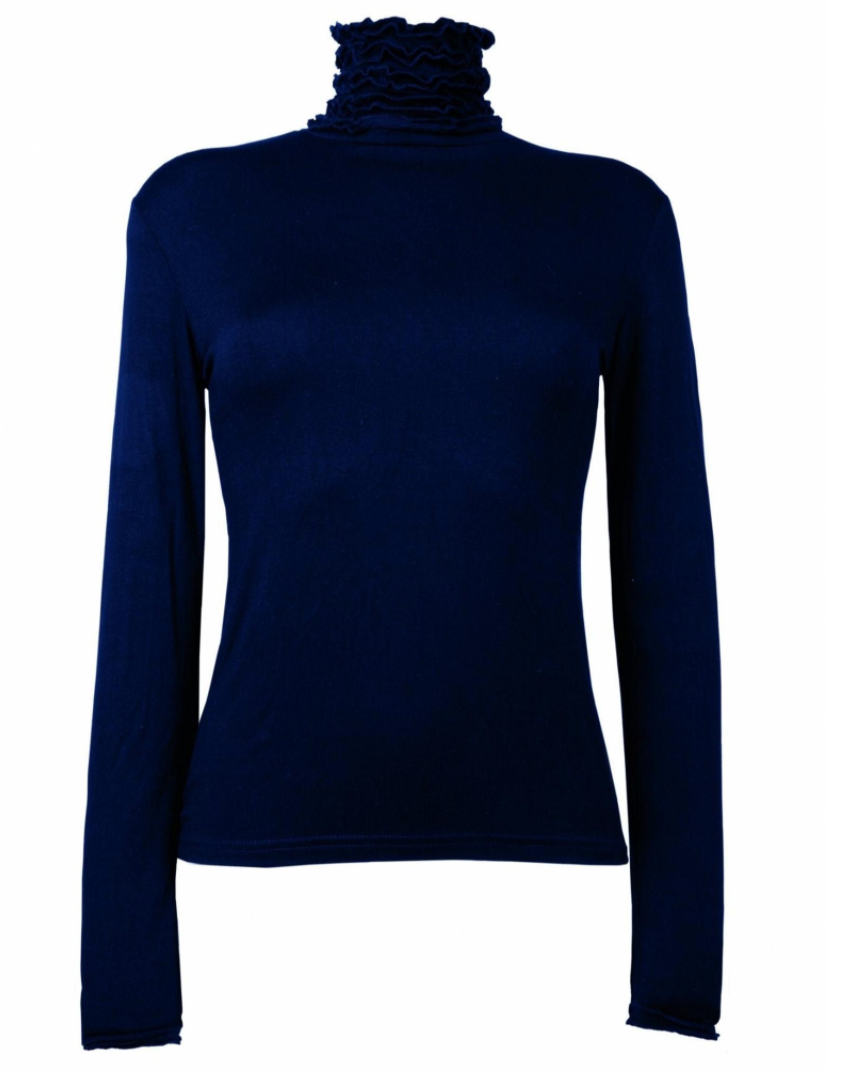 Sally Allen Fashion Ruffle Polo Neck Fine Knit Sweater in Navy