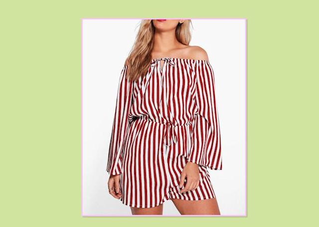 "<p>These stripes are instantly bold and give a total nautical vibe — perfect for those summer days when you want an easy standout look. Plus Katy Striped Off-the-Shoulder Playsuit, $18, <a href=""http://us.boohoo.com/plus-katie-striped-off-the-shoulder-playsuit/PZZ91819.html?color=104"" rel=""nofollow noopener"" target=""_blank"" data-ylk=""slk:Boohoo"" class=""link rapid-noclick-resp"">Boohoo </a> </p>"