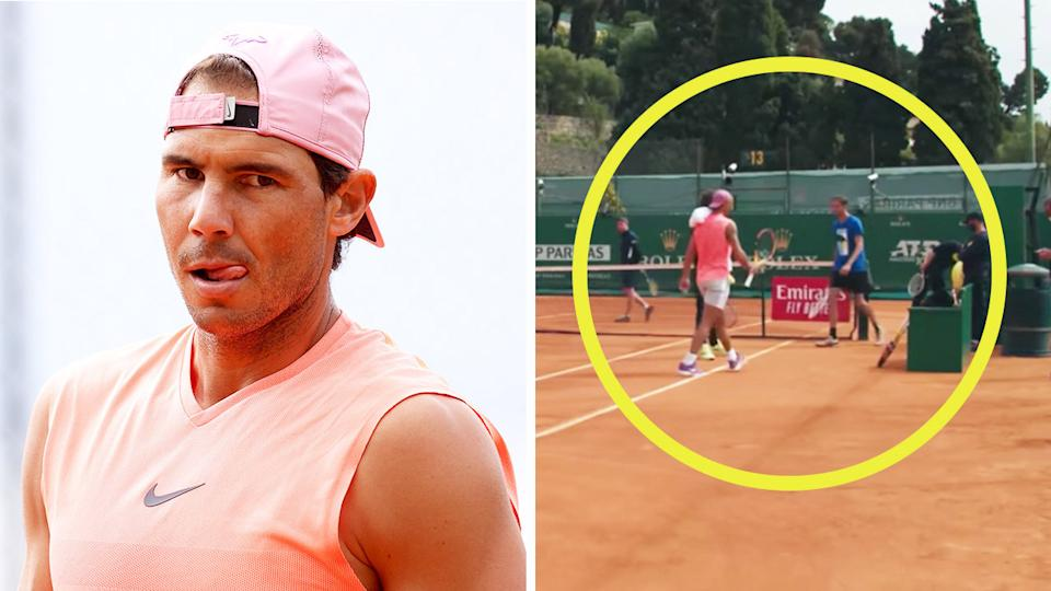 Rafael Nadal (pictured left) during practice and (pictured right) passing Daniil Medvedev at Monte Carlo practice.