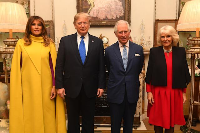 The Prince of Wales and the Duchess of Cornwall meets US President Donald Trump and wife Melania at Clarence House on Tuesday. (PA)
