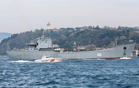 The Russian Navy's large landing ship Orsk sails in the Bosphorus, on its way to the Mediterranean Sea, in Istanbul, Turkey April 15, 2018. Picture taken April 15, 2018. REUTERS/Yoruk Isik