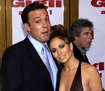 "Premiere: <a href=""/movie/contributor/1800018969"">Ben Affleck</a> and <a href=""/movie/contributor/1800023864"">Jennifer Lopez</a> at the LA premiere of <a href=""/movie/1808404170/info"">Gigli</a> - 7/27/2003<br>Photo: <a href=""http://www.wireimage.com"">Albert L. Ortega, Wireimage.com</a>"