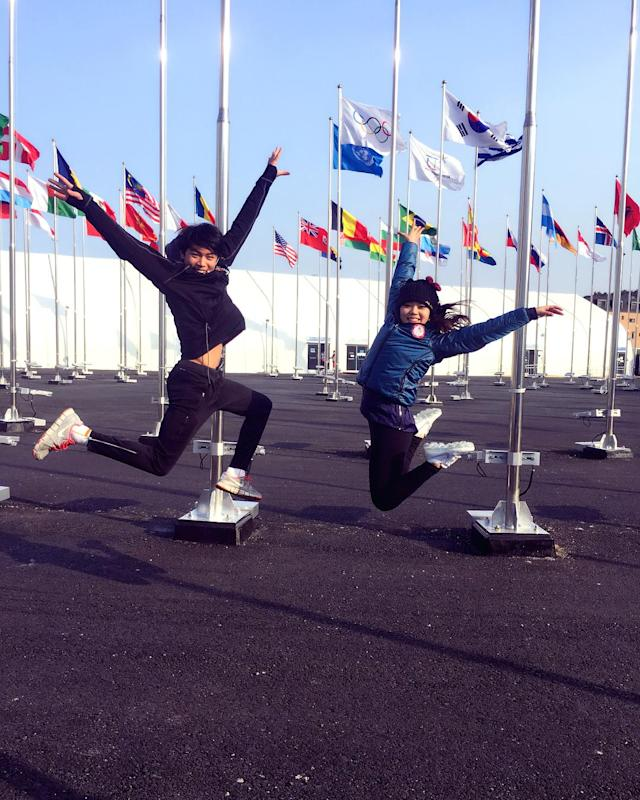 <p>karebearsk8: Incredibly happy and thankful that my fam is here to cheer me on and support me for the next few days in every way possible. Can't believe that I get to share my Olympic moments with the most important people in my life. #NoWordsCanDescribe #WinterOlympics<br> (Photo via Instagram/karebearsk8) </p>