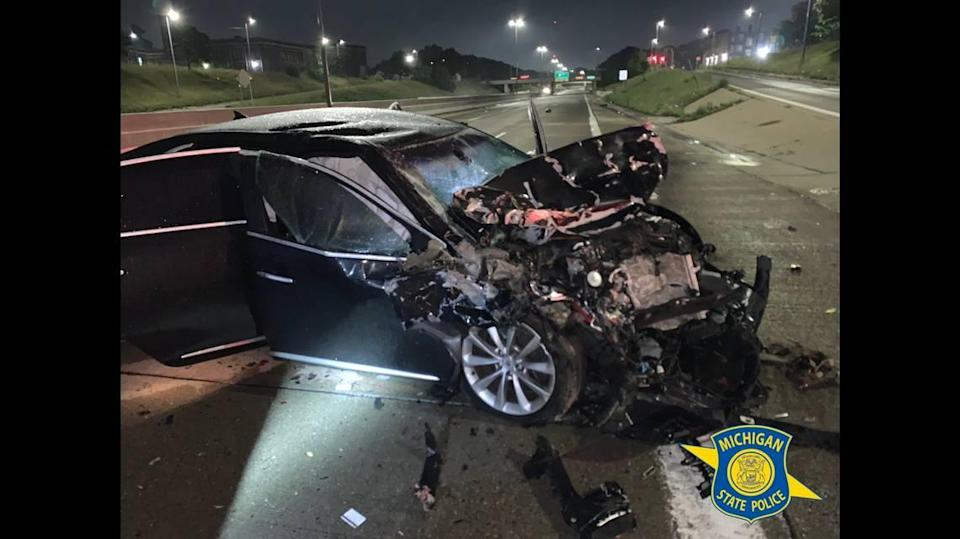 The driver of the black sedan is suspected of being under the influence of alcohol.