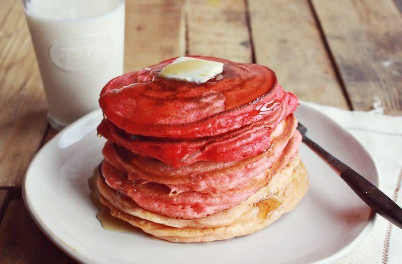 "<strong>Get the <a href=""http://www.abeautifulmess.com/2012/12/ricotta-pancakes-recipe.html"" rel=""nofollow noopener"" target=""_blank"" data-ylk=""slk:Ombre Ricotta Pancakes recipe"" class=""link rapid-noclick-resp"">Ombre Ricotta Pancakes recipe</a> from A Beautiful Mess</strong>"