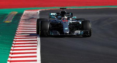 Motor Racing - F1 Formula One - Formula One Test Session - Circuit de Barcelona-Catalunya, Montmelo, Spain - March 6, 2018 Lewis Hamilton of Mercedes during testing REUTERS/Juan Medina