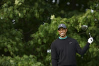 Tiger Woods smiles on the 12th tee during practice for the U.S. Open Championship golf tournament at Winged Foot Golf Club, Tuesday, Sept. 15, 2020, in Mamaroneck, N.Y. (AP Photo/John Minchillo)