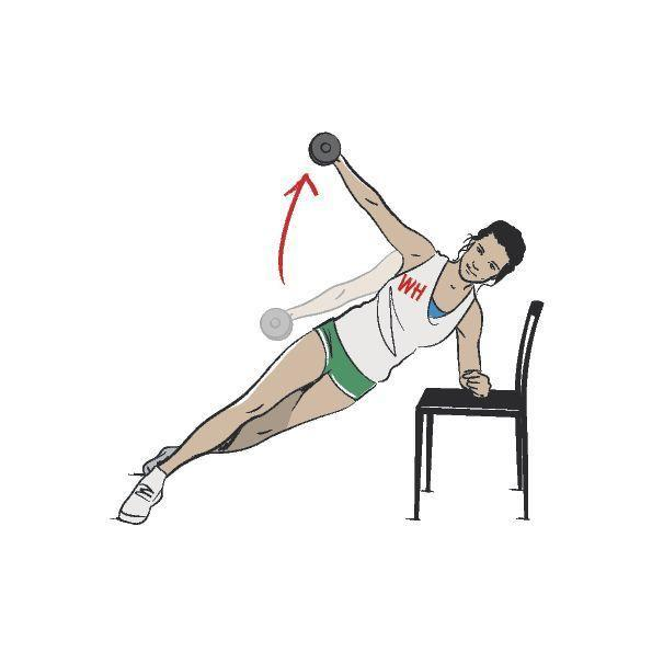 <p><strong>Needed: </strong>Dumbbell and raised surface.</p><p><strong>1/ </strong>Resting your left forearm on an elevated surface, such as a chair, step or coffee table, get into side plank position with staggered legs. The bottom leg should be placed behind you for stability. </p><p><strong>2/ </strong>In your right hand, hold a light to medium dumbbell and lift up in lateral arc inline with your body, making sure not to track the weight in front or behind your body. Lower down. That's one rep. </p><p><strong>3/ </strong>Complete the required number of reps and then switch sides.</p>