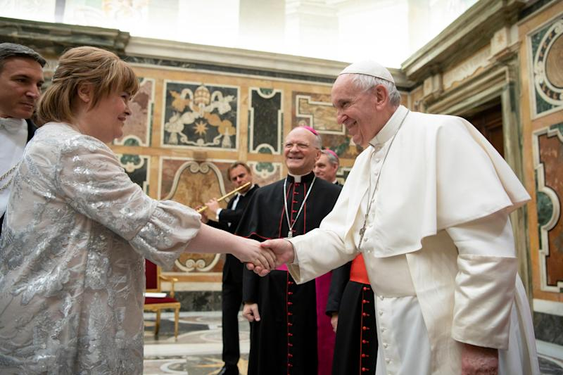 Susan Boyle met the Pope ahead of performing in the Vatican's annual Christmas concert