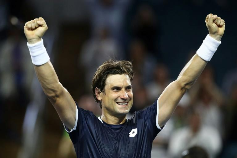 Spanish veteran David Ferrer celebrates his second-round upset of world number three Alexander Zverev of Germany at the ATP and WTA Miami Open