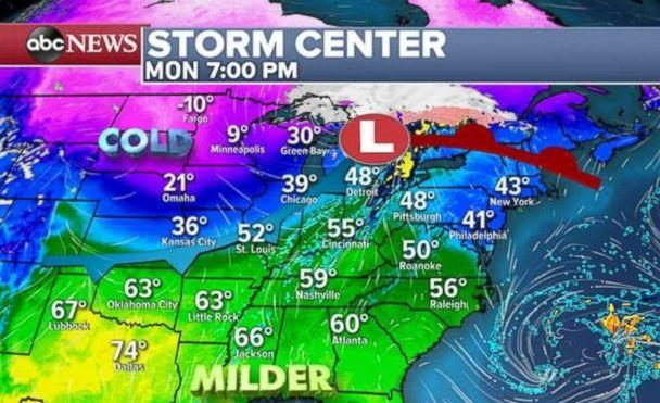 PHOTO: There warmth will expand eastward on Monday. (ABC News)