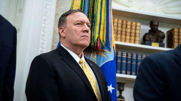 PHOTO: Secretary of State Mike Pompeo listens as President Donald Trump meets with Bahrain Crown Prince Salman bin Hamad Al Khalifa during a meeting in the Oval Office of the White House, Sept. 16, 2019. (Alexander Drago/Reuters)