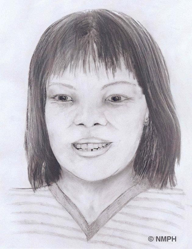 An artist's impression of the body of the woman, who has now been identified as Lamduan Armitage nee Seekanya