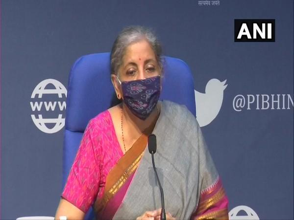 Finance Minister Nirmala Sitharaman during a press conference in New Delhi on Monday. (Photo/ANI)