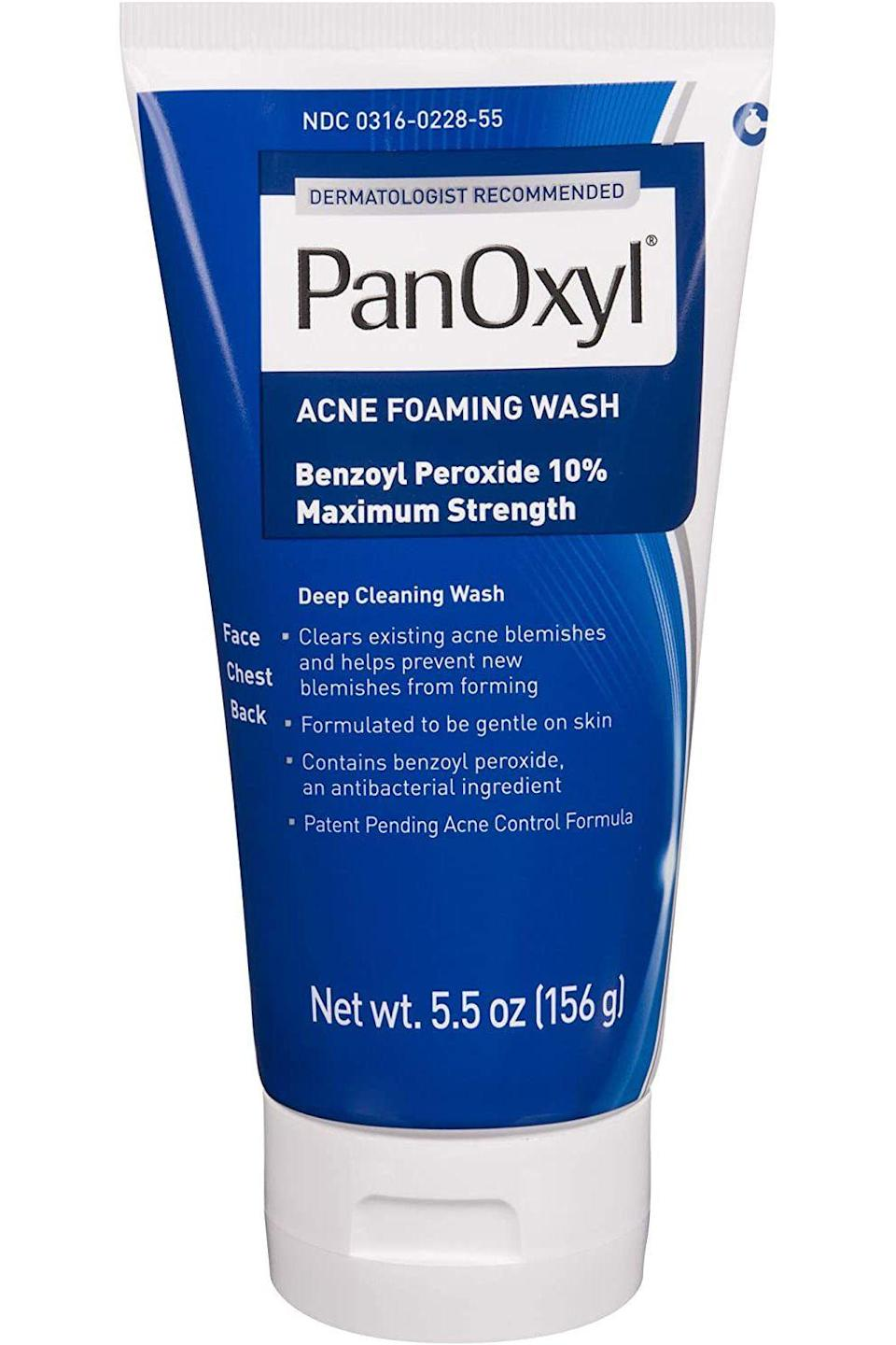 "<p><strong>PanOxyl</strong></p><p>amazon.com</p><p><strong>$9.59</strong></p><p><a href=""https://www.amazon.com/dp/B081KL2QYJ?tag=syn-yahoo-20&ascsubtag=%5Bartid%7C10056.g.34944530%5Bsrc%7Cyahoo-us"" rel=""nofollow noopener"" target=""_blank"" data-ylk=""slk:Shop Now"" class=""link rapid-noclick-resp"">Shop Now</a></p><p>Another no-nonsense cleanser, this maximum strength wash is made with 10% benzoyl peroxide to quickly get to work on skin. The right-under-$10 price tag is great for beginners—there's no reason not to try it. </p>"