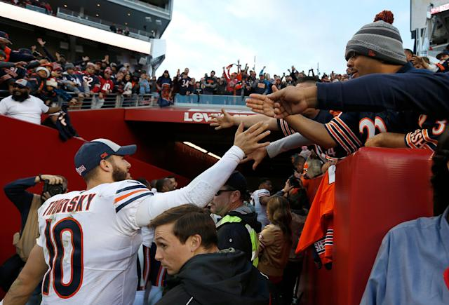 Chicago Bears quarterback Mitchell Trubisky (10) greets fans after a game against the 49ers last season. (AP)