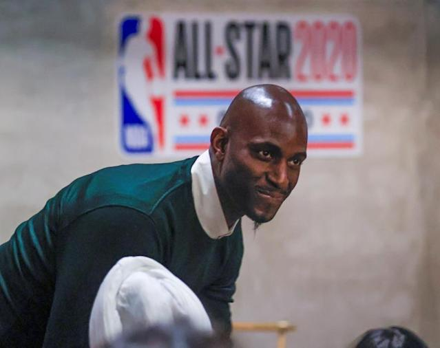 Former Boston Celtics star Kevin Garnett acknowledges being named a finalist for the NBA Hall of Fame at the NBA Hall of Fame nomination announcement at the United Center in Chicago, Illinois, USA, 14 February 2020. The announcement was part of the NBA All Star festivities. (Baloncesto, Estados Unidos) EFE/EPA/TANNEN MAURY
